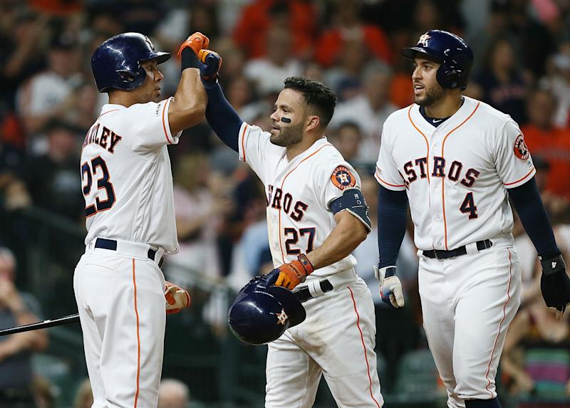 The Astros hit seven homers in a 15-0 thumping of the A's on Monday night. (Photo by Bob Levey/Getty Images)