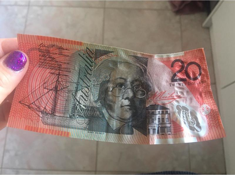 Pictured is a disfigured $20 note that had been ironed.