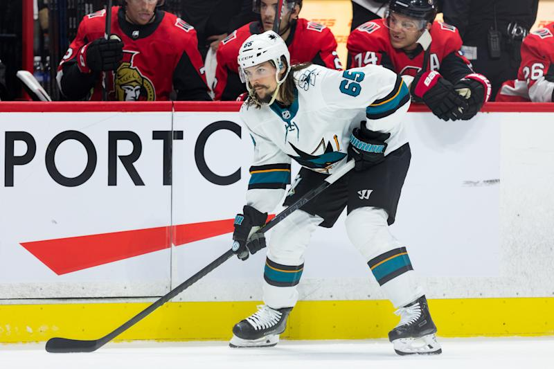 OTTAWA, ON - OCTOBER 27: San Jose Sharks defenseman Erik Karlsson (65) prepares for a face-off during first period National Hockey League action between the San Jose Sharks and Ottawa Senators on October 27, 2019, at Canadian Tire Centre in Ottawa, ON, Canada. (Photo by Richard A. Whittaker/Icon Sportswire via Getty Images)