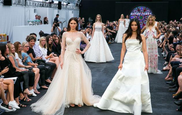 For the first time ever, the show will conclude with the David Jones range of bridal gowns by Reem Acra, Self Portrait, Oscar de la Renta, Monique Lhuillier, Temperley, Carolina Herrera, Rachel Gilbert.