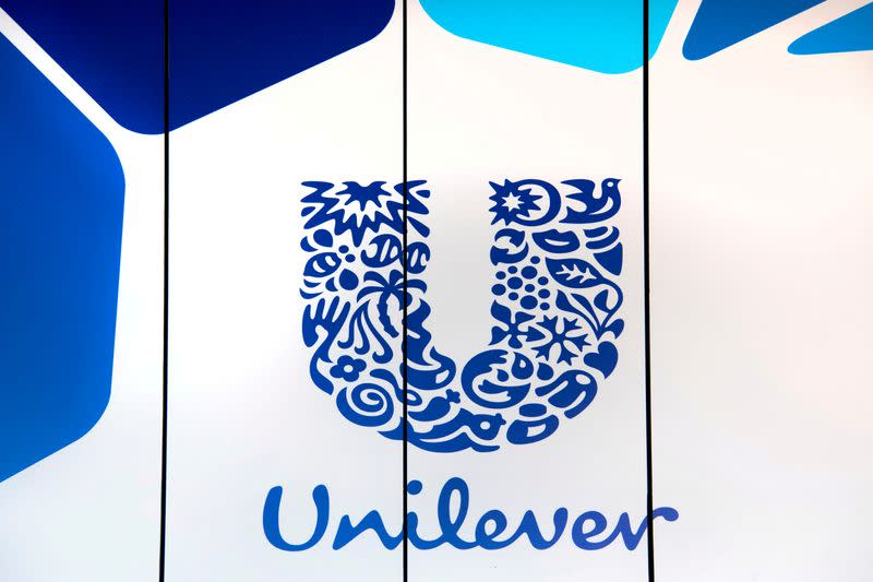 FILE PHOTO: The logo of Unilever is seen at the consumer goods group's headquarters in Rotterdam