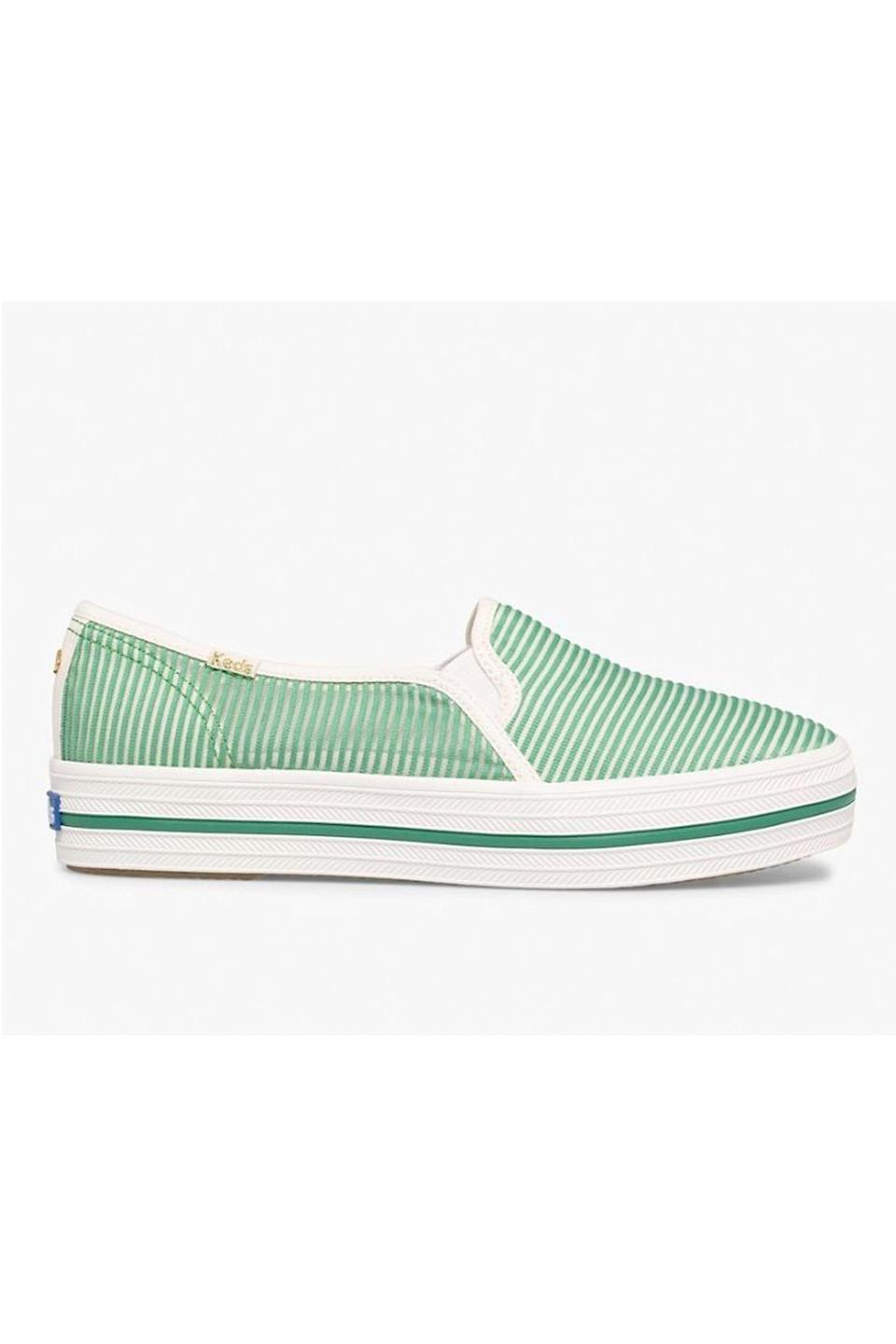"""<p><strong>Keds x Kate Spade New York</strong></p><p>keds.com</p><p><strong>$49.95</strong></p><p><a href=""""https://go.redirectingat.com?id=74968X1596630&url=https%3A%2F%2Fwww.keds.com%2Fen%2Fkeds-x-kate-spade-new-york-triple-decker-stripe-mesh%2F47879W.html&sref=https%3A%2F%2Fwww.cosmopolitan.com%2Fstyle-beauty%2Ffashion%2Fg36052314%2Fstepmom-gifts%2F"""" rel=""""nofollow noopener"""" target=""""_blank"""" data-ylk=""""slk:Shop Now"""" class=""""link rapid-noclick-resp"""">Shop Now</a></p><p>For a stepmom always on the go, these Keds x Kate Spade New York slip-on sneakers are *chef's kiss.*</p>"""