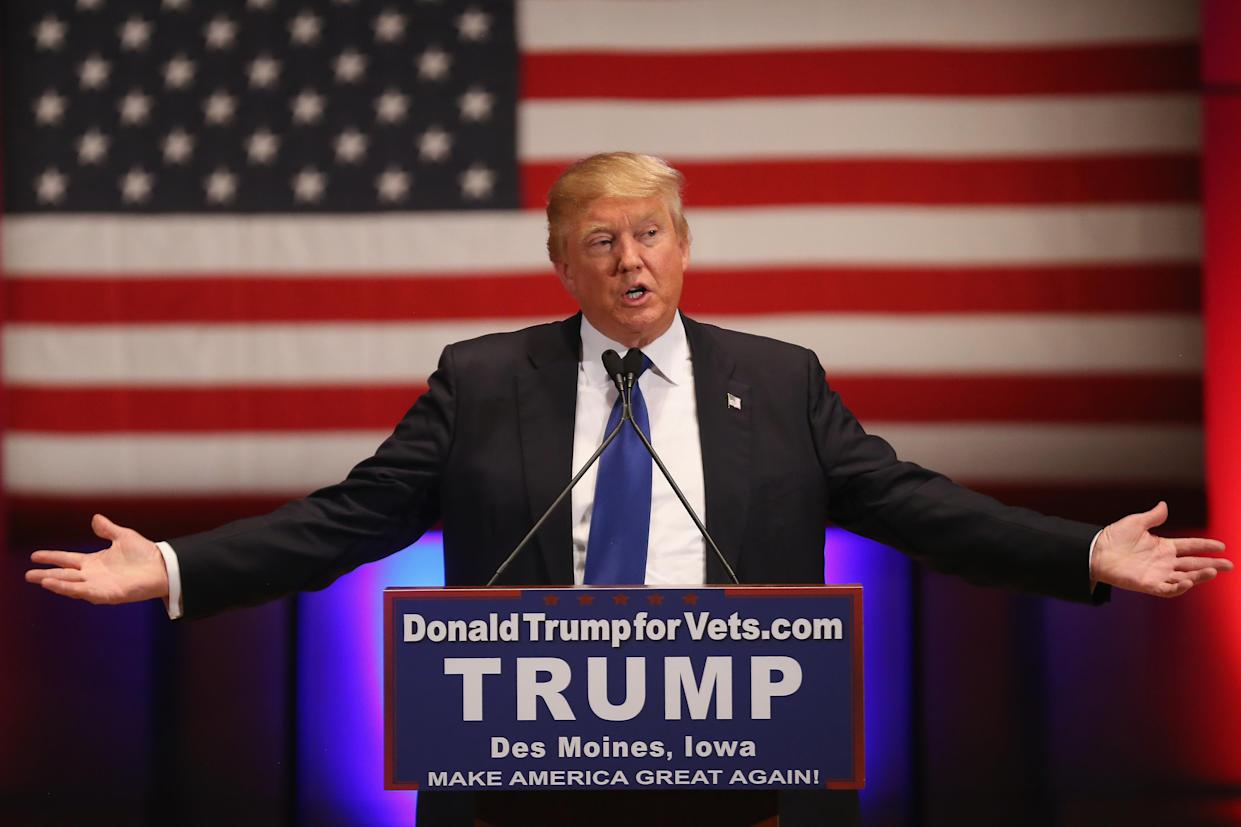 President Trump speaks during a veterans' benefit in Des Moines on Jan. 28, 2016, after withdrawing from a Fox News/Google GOP debate. (Photo: Christopher Furlong/Getty Images)
