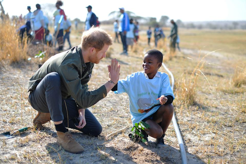 Prince Harry, Duke of Sussex, helps local schoolchildren plant trees at the Chobe Tree Reserve in Botswana, on day four of their tour of Africa on September 26, 2019 in Chobe National Park, Botswana.
