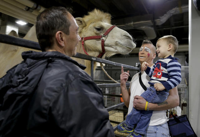 """<p>Ringling Bros. boss clown Sandor Eke, center, holds his 2-year-old son Michael up to pet a camel before performing in a show, Friday, May 5, 2017, in Providence, R.I. """"When you're a circus kid you have your own zoo,"""" said Eke. (Photo: Julie Jacobson/AP) </p>"""