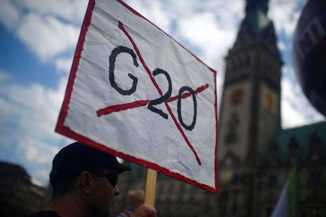 <p>People take part in protests ahead of the upcoming G20 summit in Hamburg, Germany July 2, 2017. (Hannibal Hanschke/Reuters) </p>