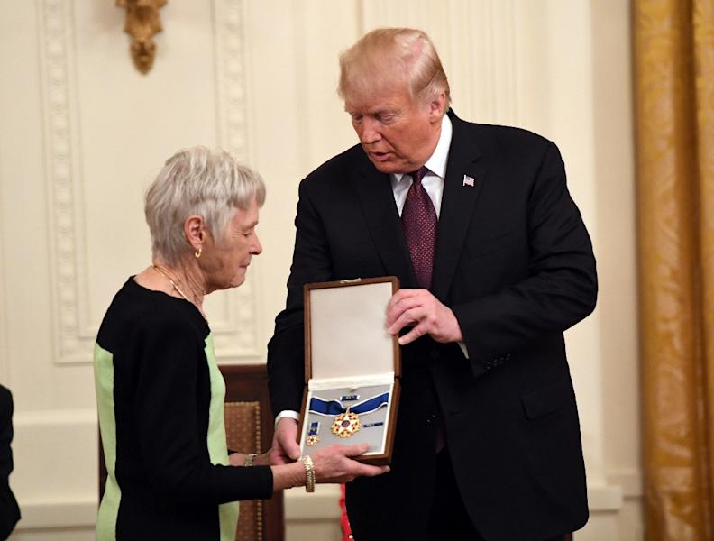 US President Donald Trump awards the Presidential Medal of Freedom to the late Supreme Court Justice Antonin Scalia, accepted by his wife Maureen Scalia (AFP Photo/SAUL LOEB)