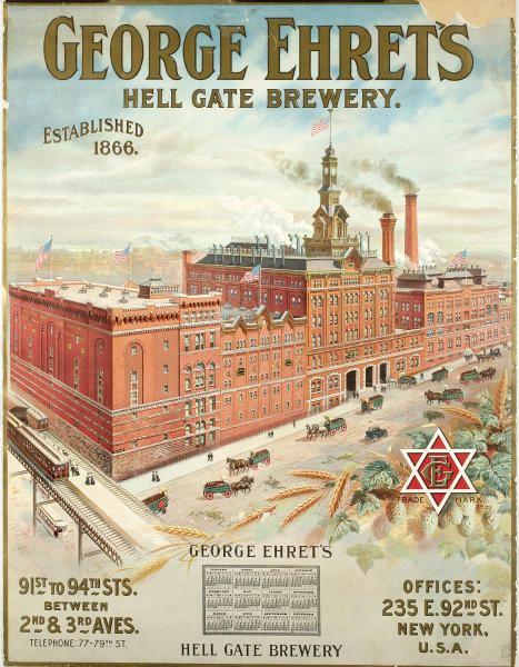 """This undated photo provided by the New-York Historical Society shows a color lithograh of """"George Ehret's Hell Gate Brewery,"""" which will be a part of the uncoming exhibit """"Beer Here,"""" featuring a small beer hall and the chance to try a selection of New York City and state artisanal beers. (AP Photo/ New-York Historical Society)"""