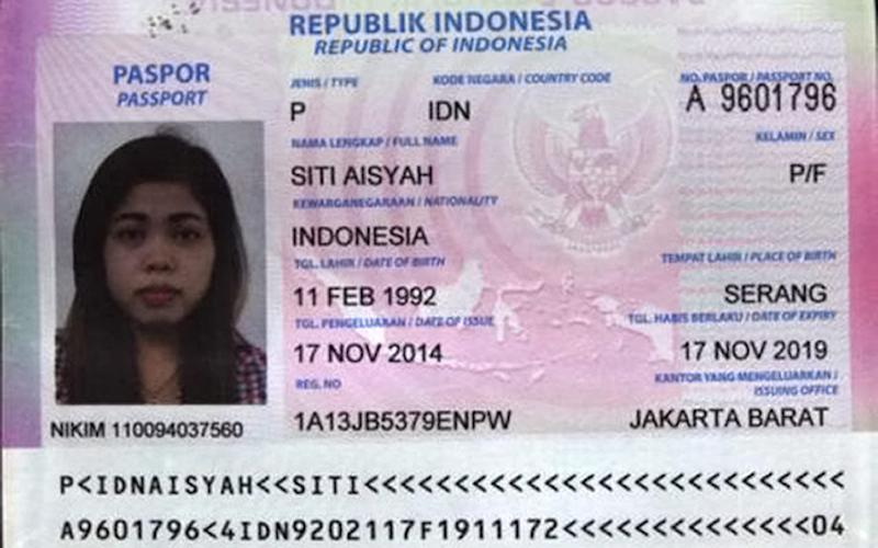 Passport photo of Siti Aisyah - Credit: stimewa-kumparancom