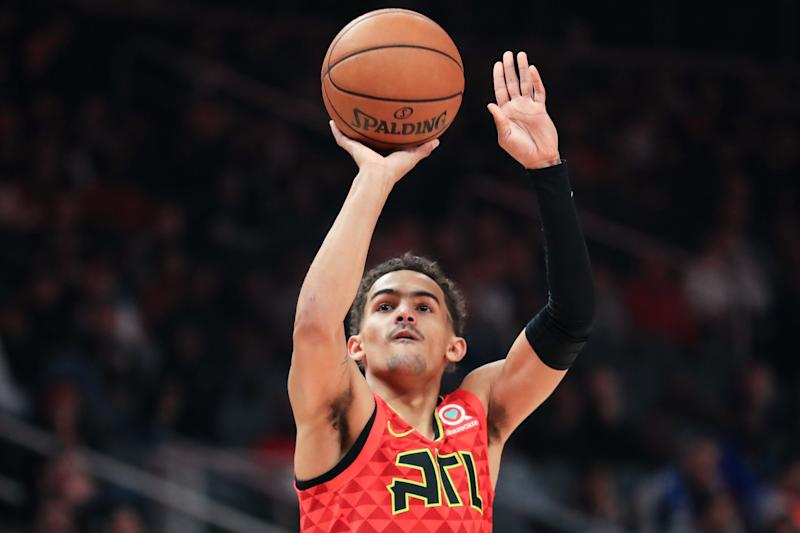 ATLANTA, GA - DECEMBER 27: Trae Young #11 of the Atlanta Hawks puts up a basket during the first quarter of a game against the Milwaukee Bucks at State Farm Arena on December 27, 2019 in Atlanta, Georgia. NOTE TO USER: User expressly acknowledges and agrees that, by downloading and or using this photograph, User is consenting to the terms and conditions of the Getty Images License Agreement. (Photo by Carmen Mandato/Getty Images)