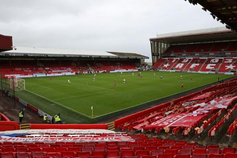 Aberdeen's Pittodrie stadium was empty in Scottish football's first match behind closed doors due to the coronavirus pandemic (AFP Photo/Andrew Milligan)