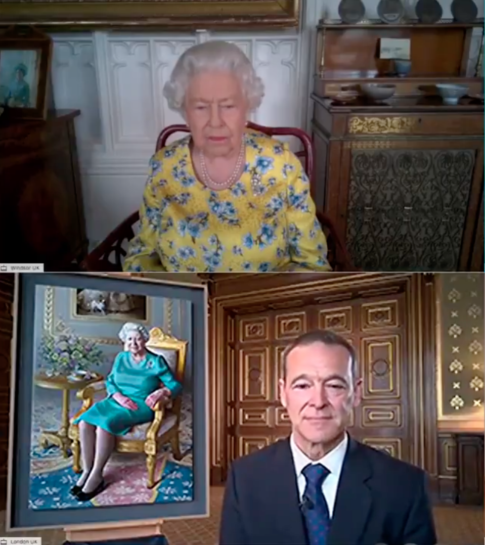 Queen Elizabeth views unveiling of Foreign Office portrait over video call historic first