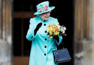 <p>A springy robin's egg blue was a perfect choice for the Queen on Easter Day 2017.</p>