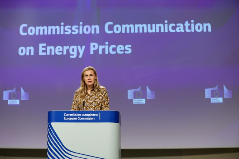 """Consumers' """"concern is understandable, justified,"""" said EU energy commissioner Kadri Simson as she unveiled the proposals (AFP/Aris Oikonomou)"""