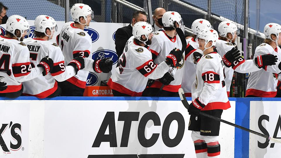Ottawa Senators rookie Tim Stutzle has been a much-needed bright spot for the franchise. (Andy Devlin/NHLI via Getty Images)