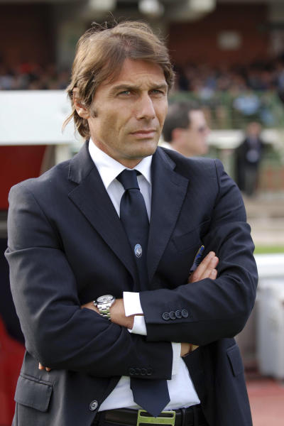 FILE -- In this Nov. 1, 2009 file photo, Atalanta coach Antonio Conte is seen during a Serie A soccer match between Cagliari and Atalanta, in Cagliari, Italy. Now coach of Italian champion Juventus, Antonio Conte, was placed under investigation on Monday, May 28, 2012, for alleged wrongdoing while coach of Siena. Italian authorities swept through the Italy national team training site near Florence and made more than a dozen arrests elsewhere Monday as part of a wide-ranging investigation into match-fixing in football. News reports said Lazio captain Stefano Mauri was among those arrested. Police are also investigating Italy and Zenit St Petersburg defender Domenico Criscito a week before the national team leaves for the European Championship in Poland and Ukraine. (AP Photo/Daniela Santoni)