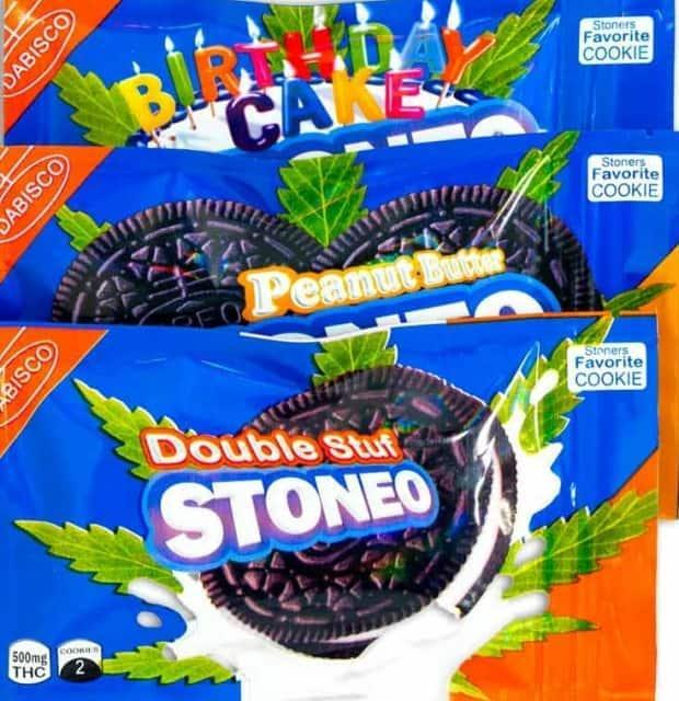 Stoneo cannabis cookies are sold in packaging that is almost identical to Oreo cookies packaging.