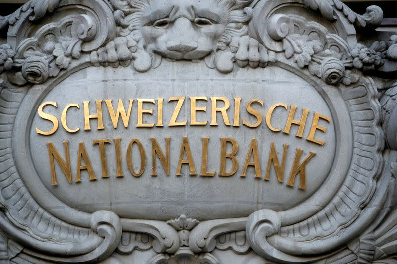 FILE PHOTO: A Swiss National Bank logo is pictured on the SNB building in Bern