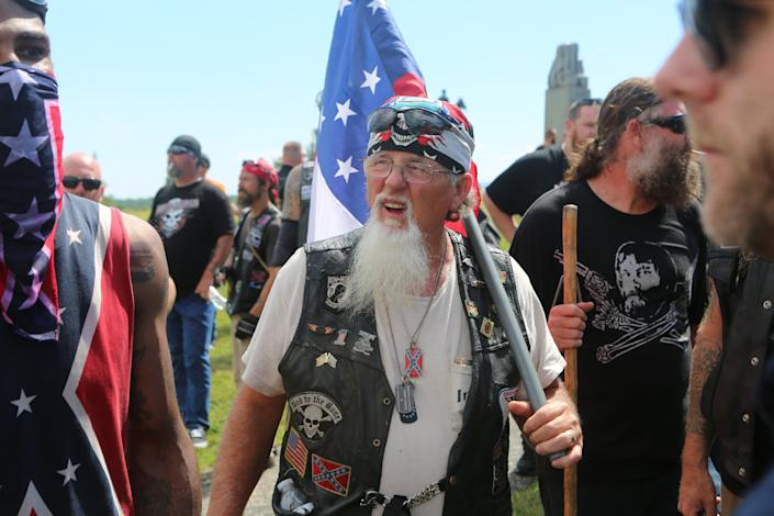Militia groups, KKK members, the Sons of Confederate Veterans and other far-right groups gathered at the Civil War battlefield in Gettysburg, Pennsylvania, on July 1, 2017, and spoke out against the removal of Confederate monuments across the U.S.
