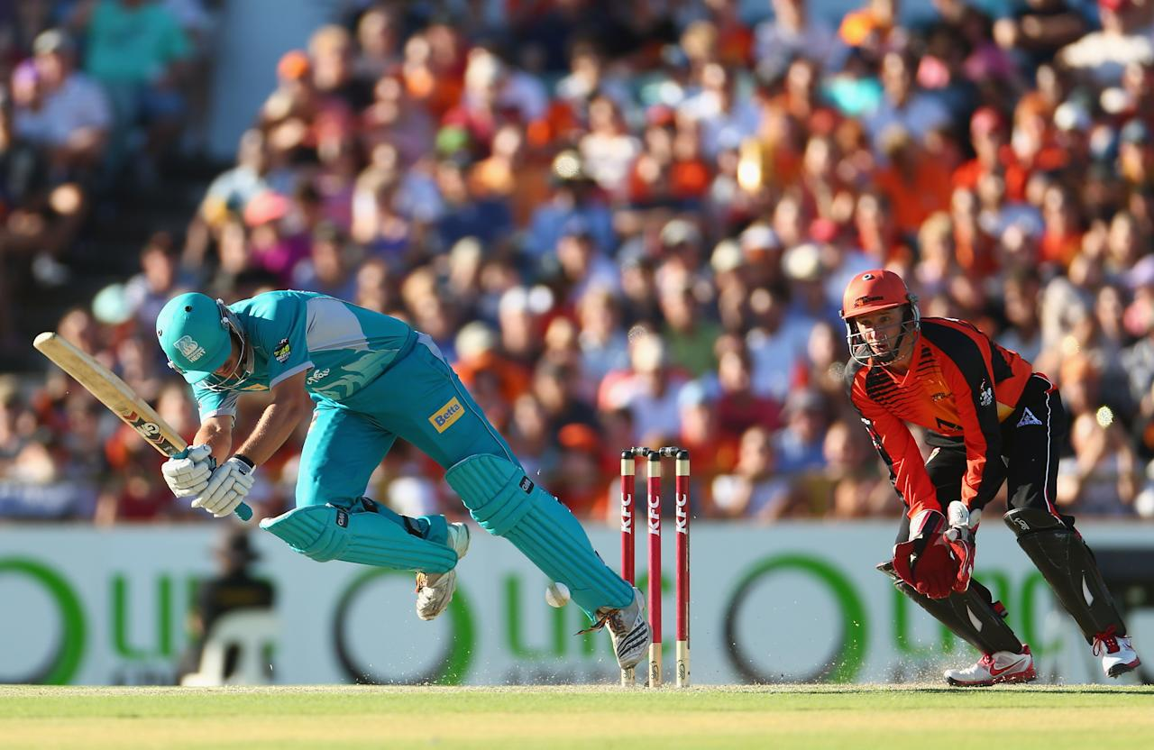 PERTH, AUSTRALIA - JANUARY 19:  Joe Burns of the Heat bats during the Big Bash League final match between the Perth Scorchers and the Brisbane Heat at WACA on January 19, 2013 in Perth, Australia.  (Photo by Robert Cianflone/Getty Images)