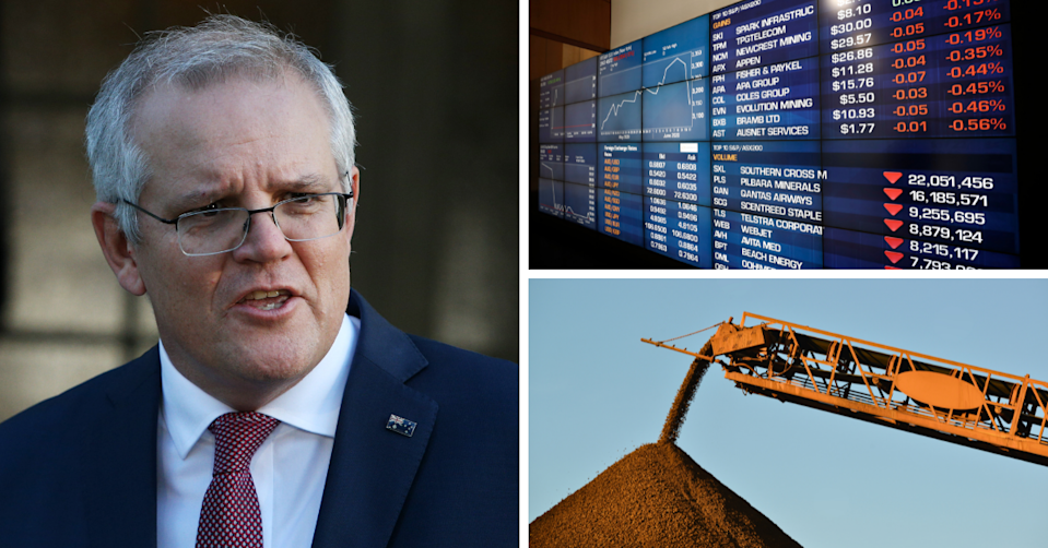 Prime Minister Scott Morrison speaking outside his residence, the ASX board showing red and an Iron ore mine