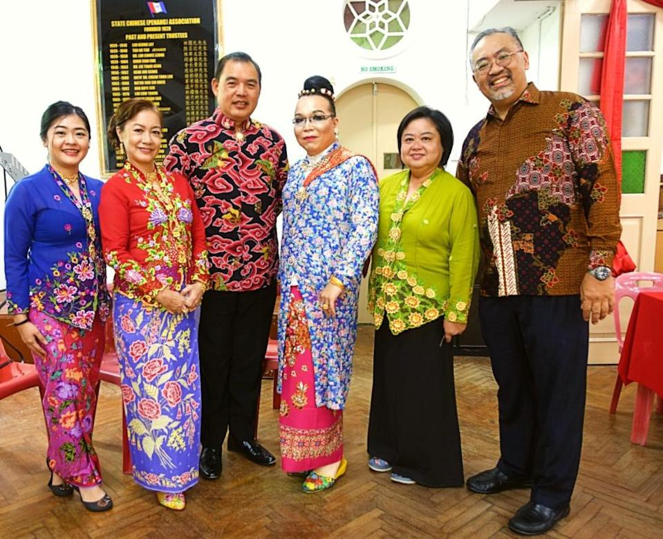 Peter Yeoh (far right) and the Baba Nyonya community decked out in their traditional attires for one of the previous Chap Goh Meh. — Picture courtesy of Peter Yeoh