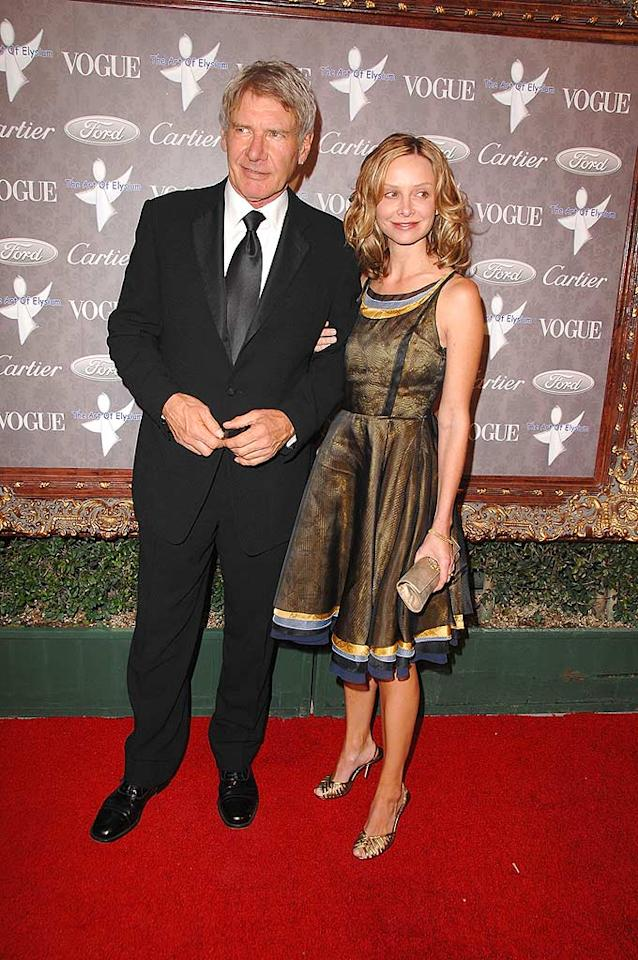 """Despite their twenty-two year age difference, Harrison Ford and his partner Calista Flockhart make quite a cute couple. Steve Granitz/<a href=""""http://www.wireimage.com"""" target=""""new"""">WireImage.com</a> - January 12, 2008"""