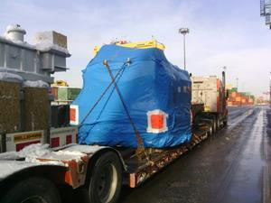 Transformer arriving at the Port of Montréal. Arrival at Bécancour scheduled this Friday, January 22, 2021.
