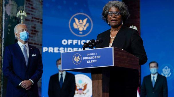 PHOTO: President-elect Joe Biden's U.S. Ambassador to the United Nations nominee Ambassador Linda Thomas-Greenfield speaks at The Queen theater, Nov. 24, 2020, in Wilmington, Del. (Carolyn Kaster/AP)