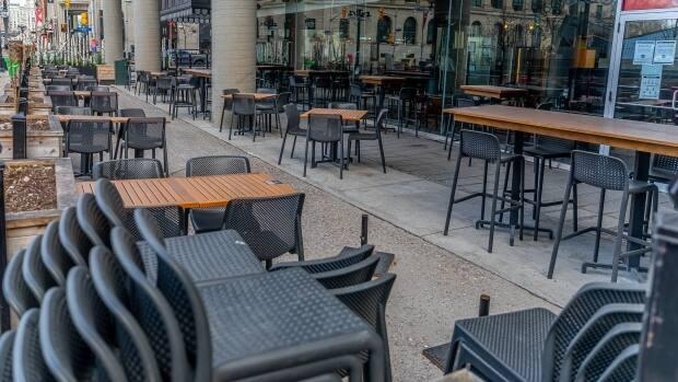 A closed patio in downtown Ottawa on April 13, 2021 during Ontario's stay-at-home order. On Sunday, 283 new cases of COVID-19 were reported by the city's health officials. (Brian Morris/CBC - image credit)