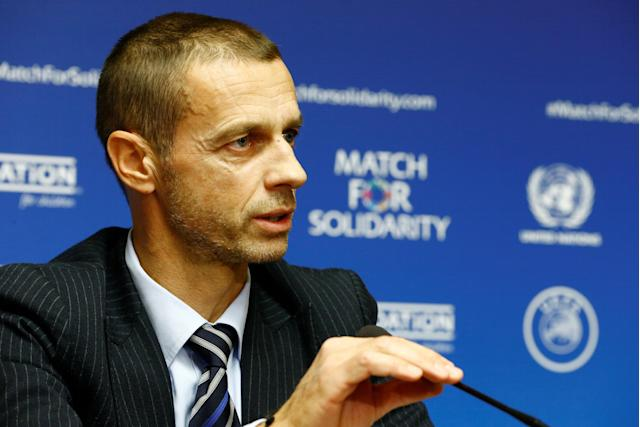 Union of European Football Associations (UEFA) President Aleksander Ceferin speaks during a news conference about a charity football match at the U.N. headquarters in Geneva, Switzerland February 13, 2018. REUTERS/Pierre Albouy