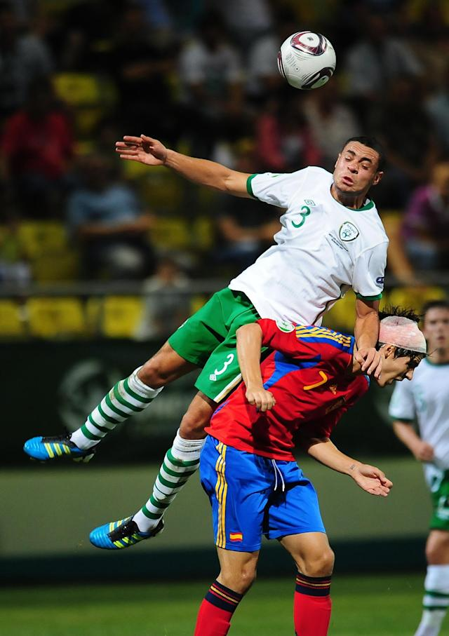 Alvaro Morata (R) of Spain vies for the ball with Derrick Williams (L) of Ireland during their UEFA European Under-19 Championship football match, near the village of Chiajna village, outside of Bucharest, on July 29, 2011. AFP PHOTO/DANIEL MIHAILESCU (Photo credit should read DANIEL MIHAILESCU/AFP/Getty Images)