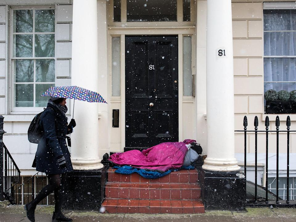 The government has pledged to end rough sleeping by three years' time (Getty)