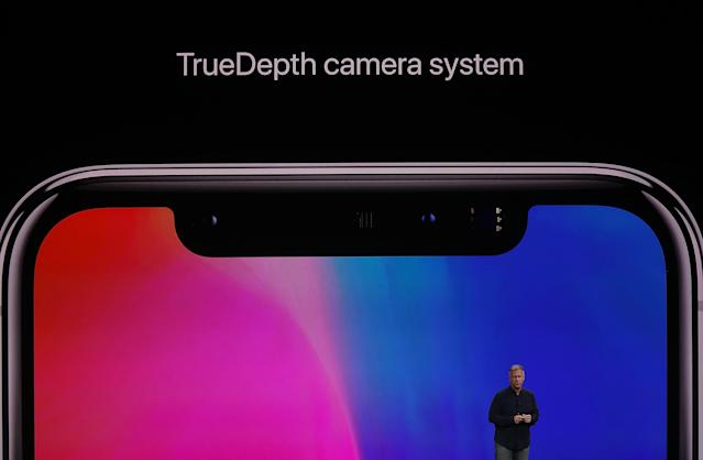 <p>That notch contains sensors and the TrueDepth camera system, which enables Face ID (and selfies). (Photo by Justin Sullivan/Getty Images) </p>