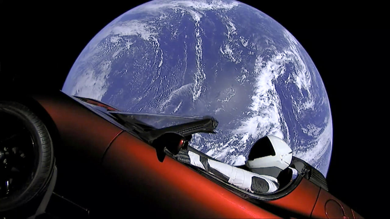 <p>This image from video provided by SpaceX shows the company's spacesuit in Elon Musk's red Tesla sports car which was launched into space during the first test flight of the Falcon Heavy rocket on Tuesday, Feb. 6, 2018. (Photo: SpaceX via AP) </p>