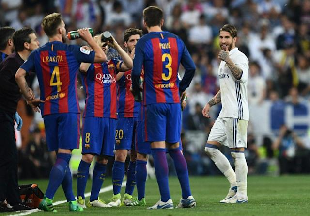 """Who knows? Maybe <a class=""""link rapid-noclick-resp"""" href=""""/soccer/players/sergio-ramos/"""" data-ylk=""""slk:Sergio Ramos"""">Sergio Ramos</a> will lose his temper and add some flair to the exhibition El Clasico. (Getty)"""