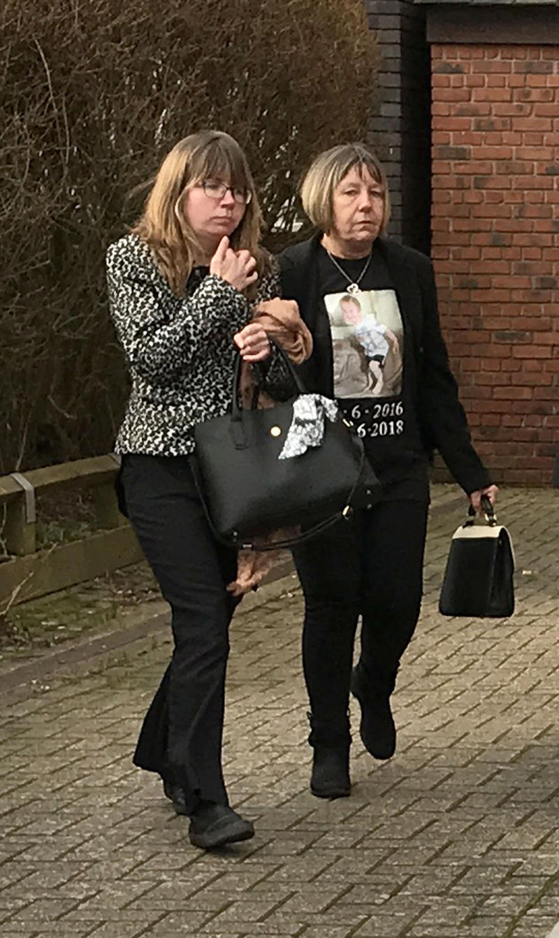 James Manning's mother Natalie Reeves (left) and grandmother Angela Knight at Centenary House in Crawley, West Sussex for the inquest into his death.