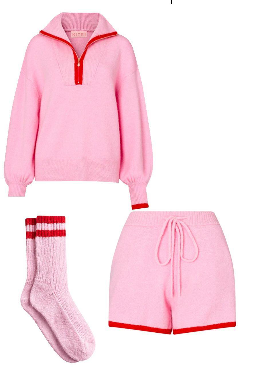 "<p><a class=""link rapid-noclick-resp"" href=""https://kitristudio.com/products/lorna-pink-alpaca-blend-zip-collar-sweater"" rel=""nofollow noopener"" target=""_blank"" data-ylk=""slk:SHOP NOW"">SHOP NOW</a></p><p><a class=""link rapid-noclick-resp"" href=""https://kitristudio.com/products/harriet-pink-alpaca-blend-shorts"" rel=""nofollow noopener"" target=""_blank"" data-ylk=""slk:SHOP NOW"">SHOP NOW</a></p><p><a class=""link rapid-noclick-resp"" href=""https://kitristudio.com/products/pink-alpaca-blend-slipper-socks"" rel=""nofollow noopener"" target=""_blank"" data-ylk=""slk:SHOP NOW"">SHOP NOW</a></p><p>Kitri just launched a range of playful loungewear designs – from sherbet-lemon dip dye sweats to this candy-pink and red knitted combo. This sporty, Fifties-inspired set comprises high-waist drawstring 'running' shorts and a funnel neck sweatshirt (it unzips to create a retro collar) with balloon sleeves. The matching socks are just the cherry on top.</p><p>Alpaca-blend Zip Sweater, £95, matching shorts, £49, and socks, £19, kitristudio.com</p>"