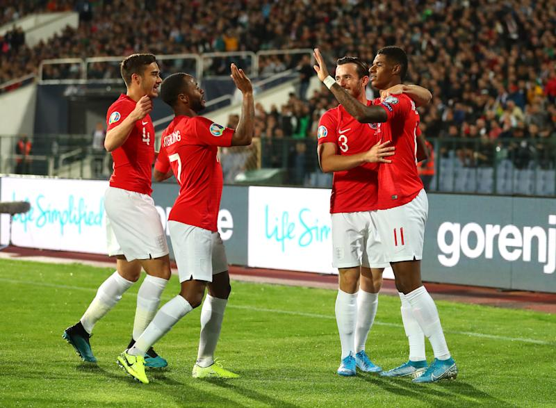 SOFIA, BULGARIA - OCTOBER 14: Marcus Rashford of England celebrates with team mates after he scores his sides first goal during the UEFA Euro 2020 qualifier between Bulgaria and England on October 14, 2019 in Sofia, Bulgaria. (Photo by Catherine Ivill/Getty Images)