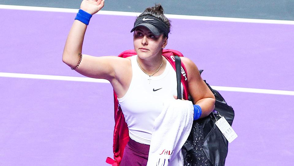 Bianca Andreescu, pictured here in action at the WTA Finals in October 2019.