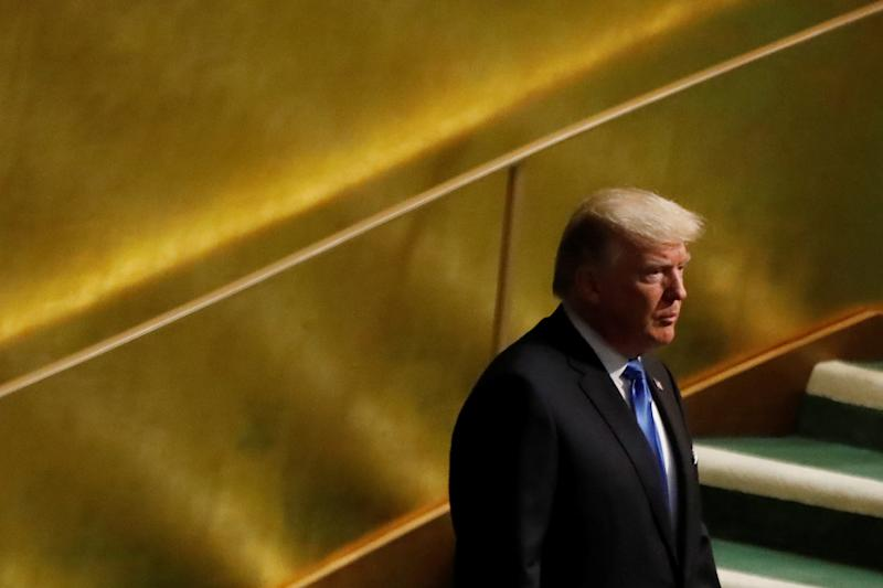 President Donald Trump arrives to address the 72nd United Nations General Assembly at U.N. headquarters in New York on Sept. 19, 2017. (Shannon Stapleton / Reuters)