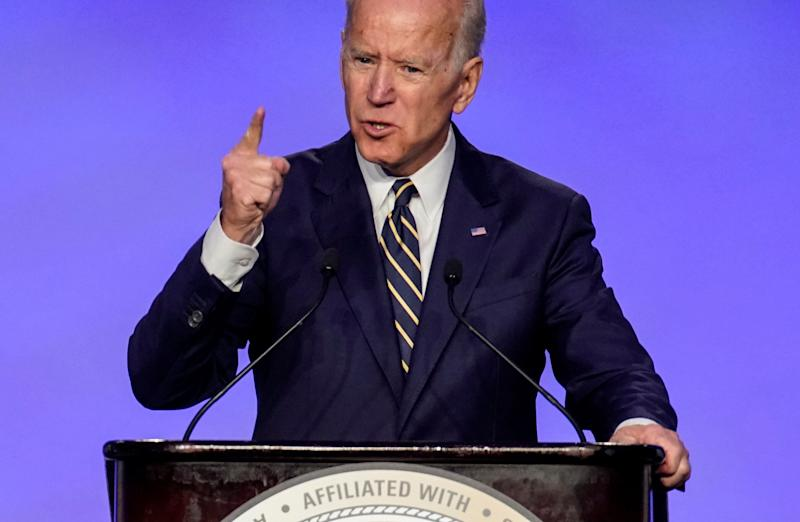 Former Vice President Joe Biden delivers remarks at the International Brotherhood of Electrical Workers' (IBEW) construction and maintenance conference in Washington, U.S., April 5, 2019. REUTERS/Joshua Roberts