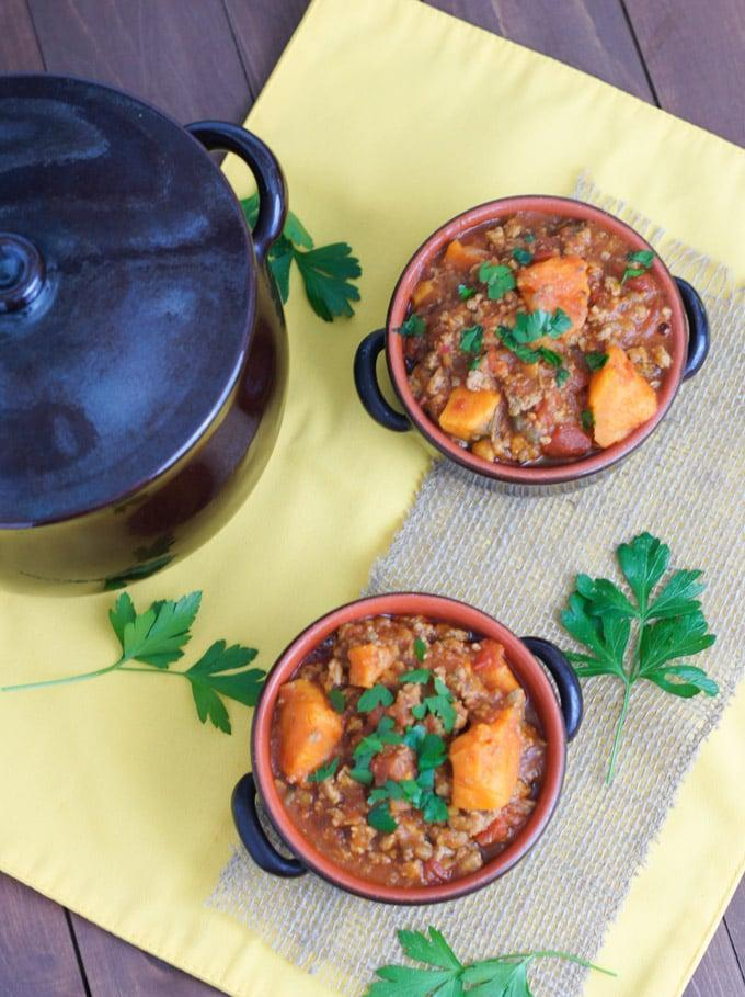 "<p><strong>Get the recipe: </strong><a href=""https://www.popsugar.com/latina/Slow-Cooker-Turkey-Sweet-Potato-Chili-Recipe-38705637"" class=""link rapid-noclick-resp"" rel=""nofollow noopener"" target=""_blank"" data-ylk=""slk:slow-cooker turkey and sweet potato chili"">slow-cooker turkey and sweet potato chili</a> </p>"