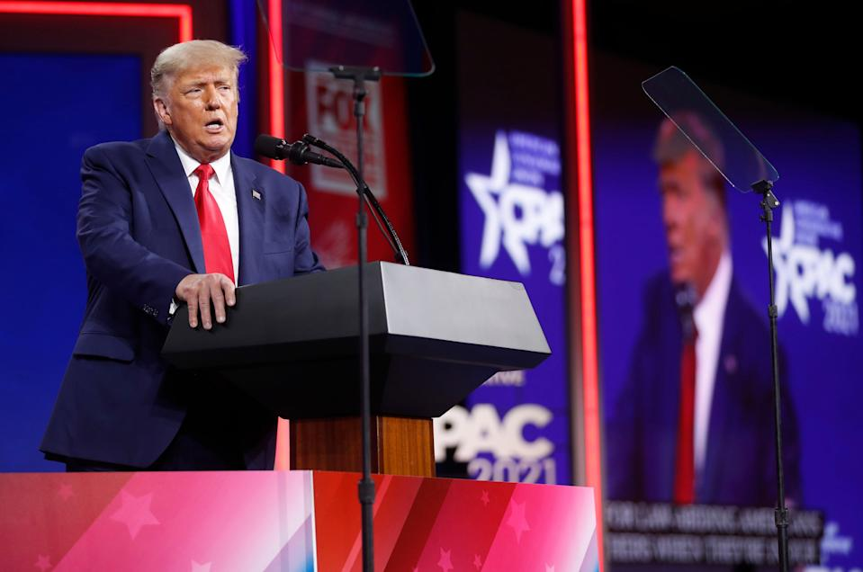 Former U.S. President Donald Trump speaks at the Conservative Political Action Conference in Orlando (REUTERS)