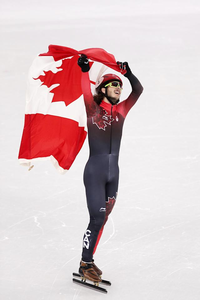 <p>Samuel Girard of Canada celebrates after winning the gold medal during the Short Track Speed Skating Men's 1000m Final A on day eight of the PyeongChang 2018 Winter Olympic Games at Gangneung Ice Arena on February 17, 2018 in Gangneung, South Korea. (Photo by Richard Heathcote/Getty Images) </p>