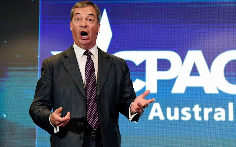 Mr Farage's comments came at the right-wing CPAC conference in Sydney - REX
