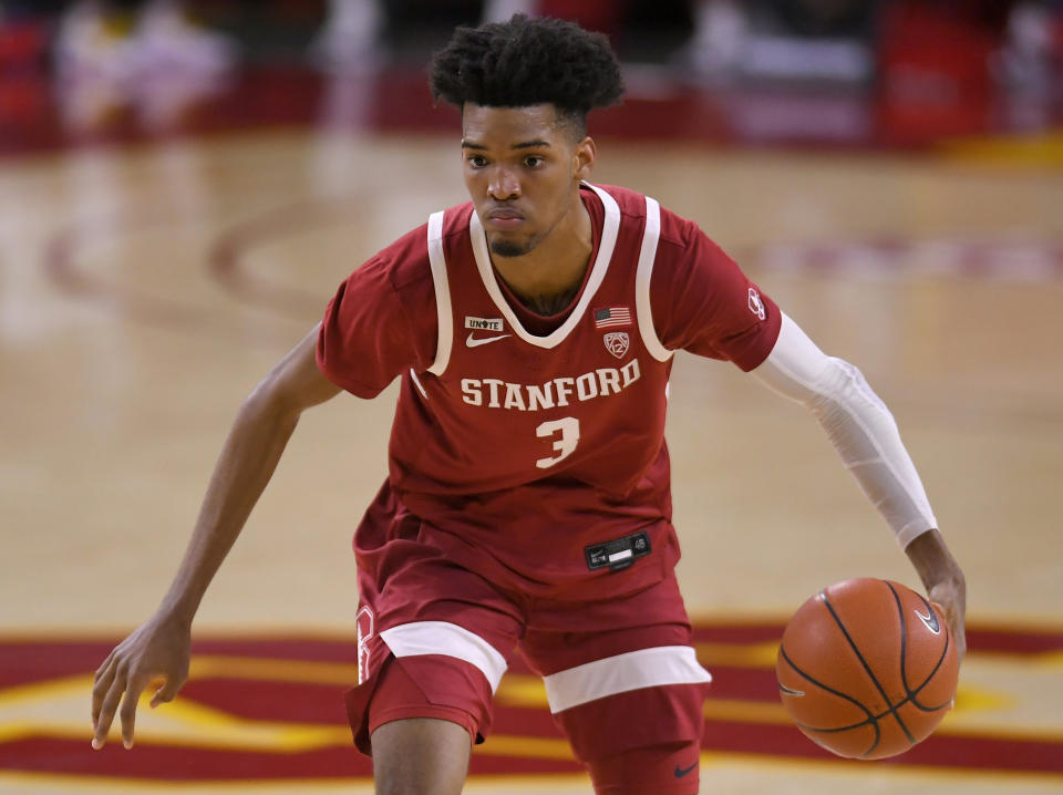 LOS ANGELES, CA - MARCH 03: Ziaire Williams #3 of the Stanford Cardinal plays the USC Trojans at Galen Center on March 3, 2021 in Los Angeles, California. (Photo by John McCoy/Getty Images)