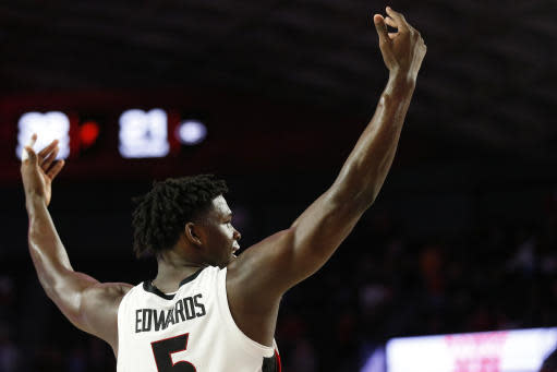 Georgia's Anthony Edwards (5) celebrates after the team's win over Tennessee in an NCAA college basketball game Wednesday, Jan. 15, 2020, in Athens, Ga. (Joshua L. Jones/Athens Banner-Herald via AP)