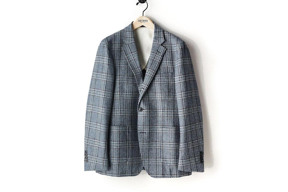 """$528, Todd Snyder. <a href=""""https://www.toddsnyder.com/collections/sale/products/blue-oversized-plaid-sport-coat-blue-1"""" rel=""""nofollow noopener"""" target=""""_blank"""" data-ylk=""""slk:Get it now!"""" class=""""link rapid-noclick-resp"""">Get it now!</a>"""