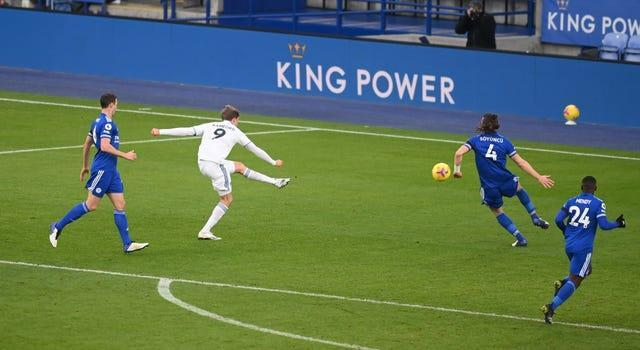 Leeds' Patrick Bamford scores his side's second goal in a 3-1 win at Leicester